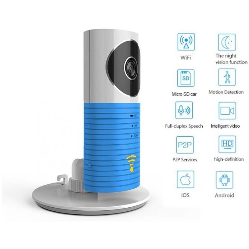 CleverDog Camera de Supraveghere CleverDog Wirless IP, HD, NightVision, Senzor Automat, Microfon Albastru