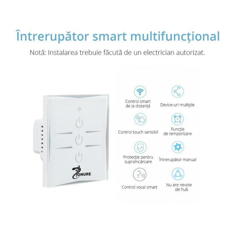 Zonure Intrerupator inteligent wireless Zonure WiFi 10A 1800W triplu alb cu touch