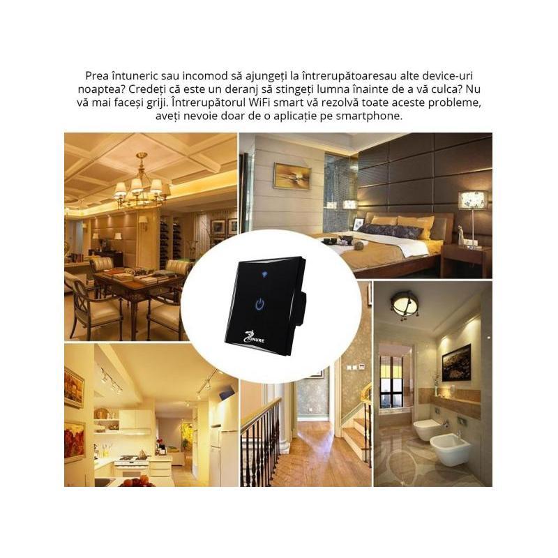 Zonure Intrerupator inteligent wireless Zonure WiFi 10A 600W simplu negru cu touch