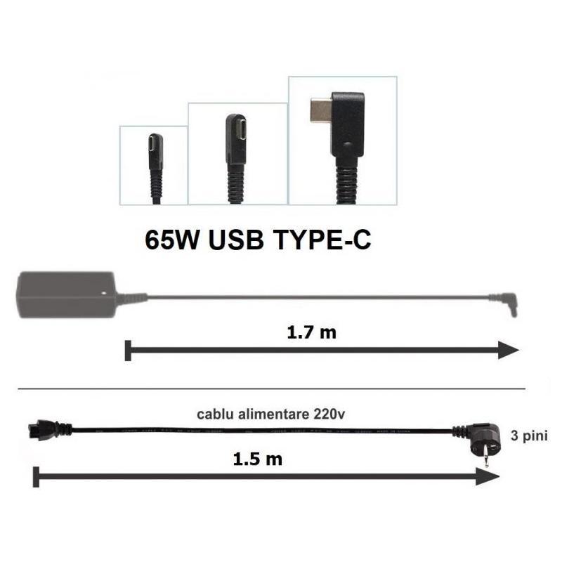 HP Incarcator HP 20V 3.25A 65W USB Type-C clasic Premium